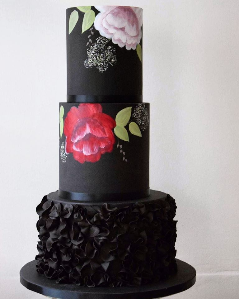 Black Ruffles Painted Flowers
